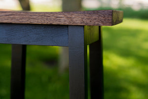 close up view custom wooden bar stool seat