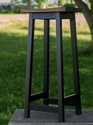 no back wooden bar stool with square seat