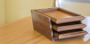 3 Tier Letter Tray, Wood Organizer for Desk in Walnut Wood
