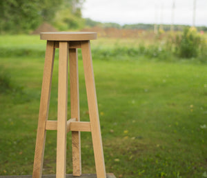tall custom made wood bar stools with round seat in oak