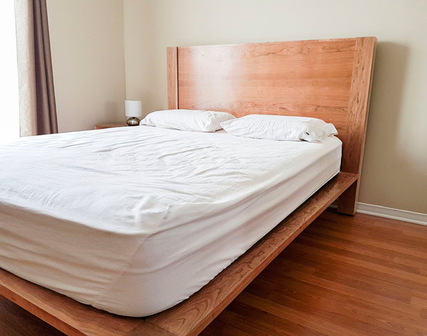cherry wood wooden back board queen size bed frame with mattress