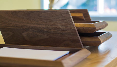 3 Tier Wood Paper Tray Document Holder in Walnut