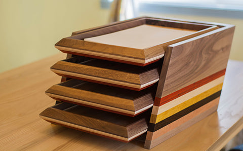 4 Tier Wood Paper Tray Document Holder in Walnut, Maple and Padauk Wood