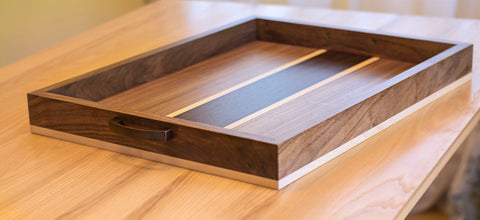 Wood Ottoman Tray with Handles in Walnut, Maple and Wenge