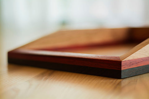 Wooden Paper Tray for Desk in Cherry, Wenge and Padauk