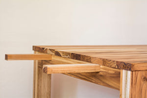 view of how wooden dining table extends