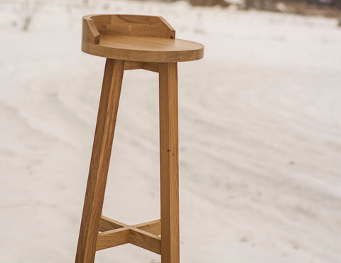 Wooden Bar Stool in White Oak