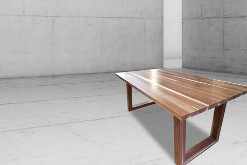 Wood Dining Table with U Shaped Legs in Walnut