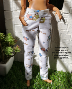 PDF Sewing Pattern Set - Relaxed-fit Trousers for CURVY Barbie dolls