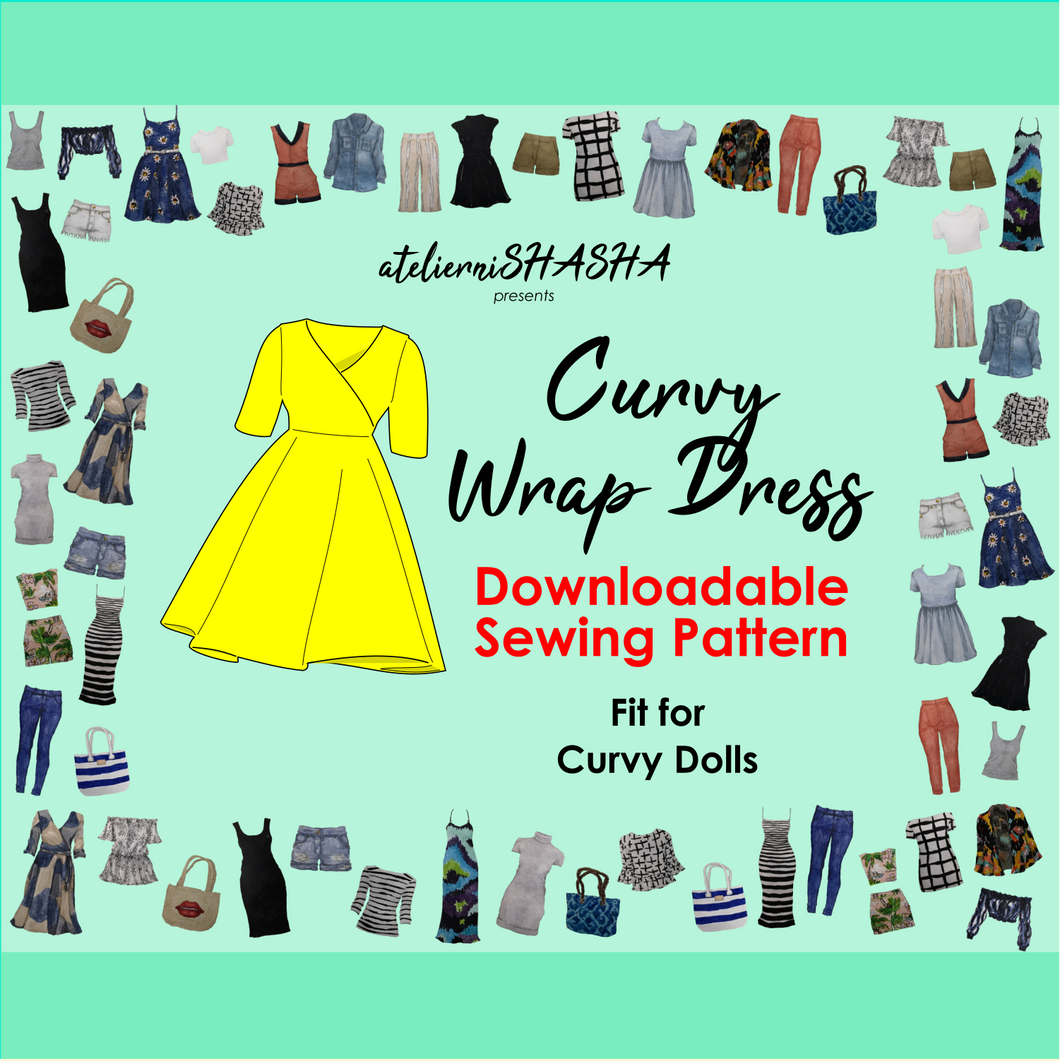PDF Sewing Pattern - CURVY Wrap Dress for Curvy Dolls