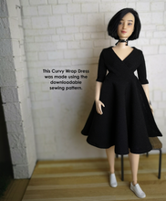 Load image into Gallery viewer, PDF Sewing Pattern - CURVY Wrap Dress for Curvy Dolls