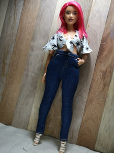 PDF Sewing Pattern - High-waist Stretch Jeans for Curvy Made to Move Barbie Fashion Dolls