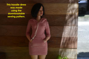 PDF Sewing Pattern - Hoodie Dress for CURVY Made to Move Barbie Fashion Dolls