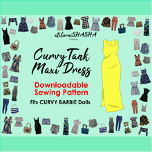 Load image into Gallery viewer, PDF Sewing Pattern - Tank Maxi Dress for Curvy Made to Move Barbie Fashion Dolls
