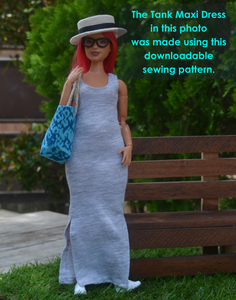 PDF Sewing Pattern - Tank Maxi Dress for Curvy Made to Move Barbie Fashion Dolls