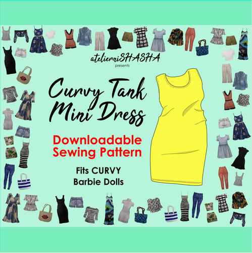 PDF Sewing Pattern - Tank Mini Dress for Curvy Made to Move Barbie Fashion Dolls