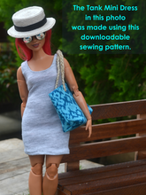 Load image into Gallery viewer, PDF Sewing Pattern - Tank Mini Dress for Curvy Made to Move Barbie Fashion Dolls