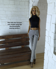 Load image into Gallery viewer, PDF Sewing Pattern - Mid-rise Trousers Fit for Fashion Royalty and NuFace dolls