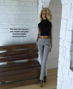 PDF Sewing Pattern - Mid-rise Trousers Fit for Fashion Royalty and NuFace dolls