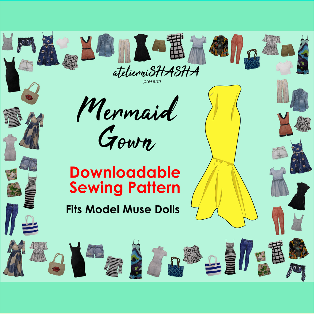 PDF Sewing Pattern - Mermaid Gown for Model Muse Barbie Fashion Dolls