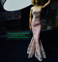 Load image into Gallery viewer, PDF Sewing Pattern - Mermaid Gown for Model Muse Barbie Fashion Dolls