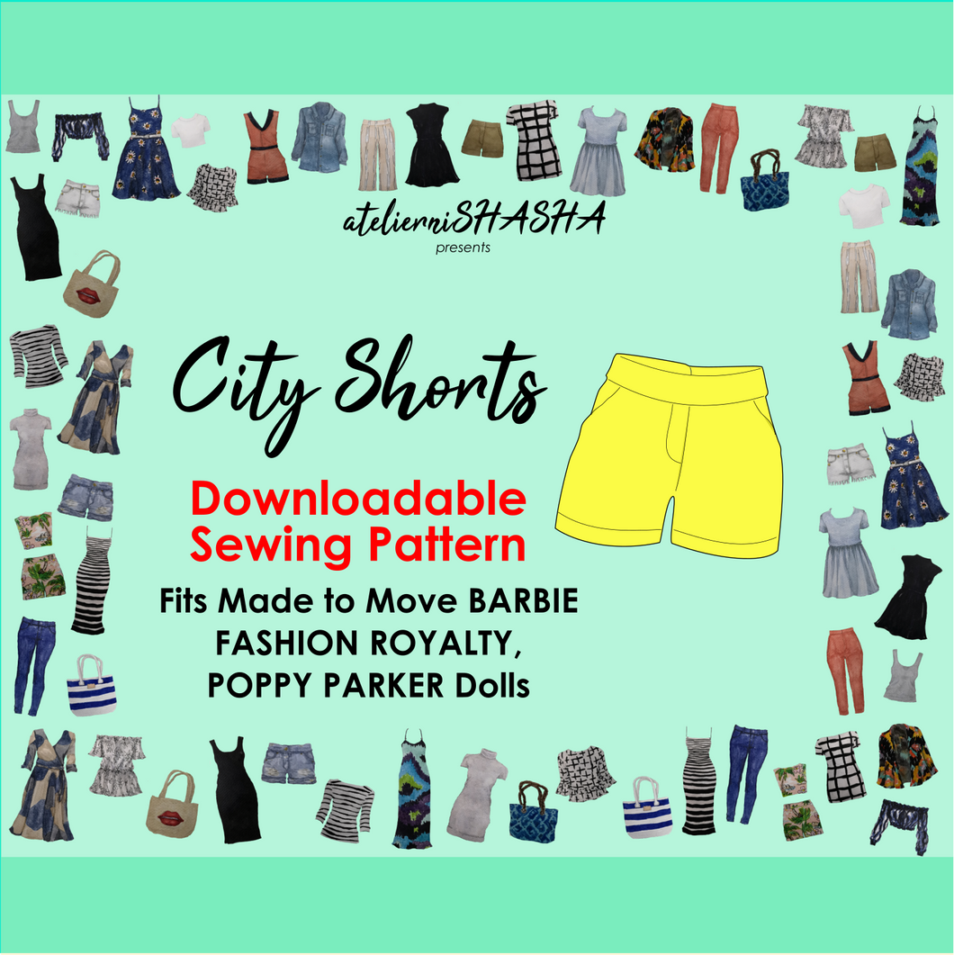PDF Sewing Pattern - City Shorts for Made to Move Barbie Original Fashion Dolls