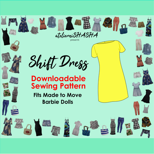 PDF Sewing Pattern - Shift Dress Fit for Barbie Made to Move Dolls
