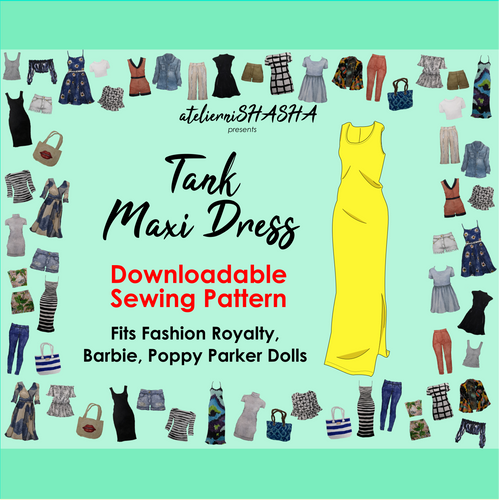PDF Sewing Pattern - Tank Maxi Dress for Fashion Royalty, Barbie, Poppy Parker Fashion Dolls