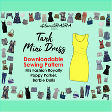 Load image into Gallery viewer, PDF Sewing Pattern - Tank Mini Dress for Fashion Royalty, Barbie, Poppy Parker Fashion Dolls
