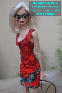 PDF Sewing Pattern - Tank Mini Dress for Fashion Royalty, Barbie, Poppy Parker Fashion Dolls