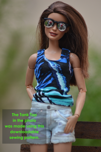 PDF Sewing Pattern - Tank Top for Fashion Royalty, Barbie, Poppy Parker Fashion Dolls