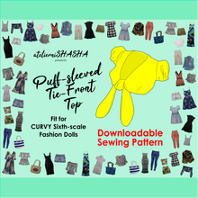 Load image into Gallery viewer, PDF Sewing Pattern Set - Puff-sleeved Tie-front Top for CURVY Sixth-scale Fashion dolls