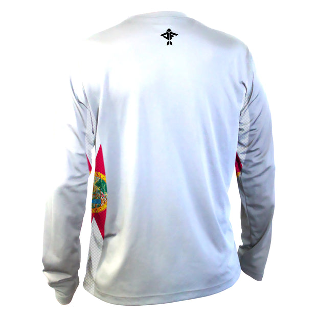 White Florida Flag Men's Long Sleeve Performance Mesh Shirt