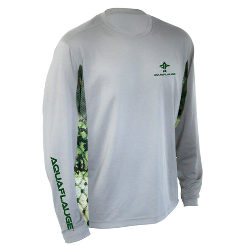 Large Mouth Bass Men's Long Sleeve Performance Mesh Grey Shirt