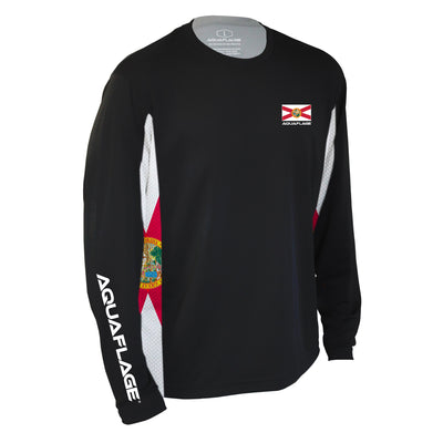 Florida Flag Men's Long Sleeve Performance Mesh Black Shirt