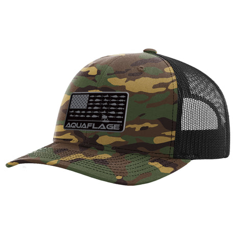 Camo Fish Flag Trucker Hat