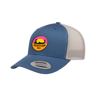 Blue and Tan Endless Fishing Trucker Hat