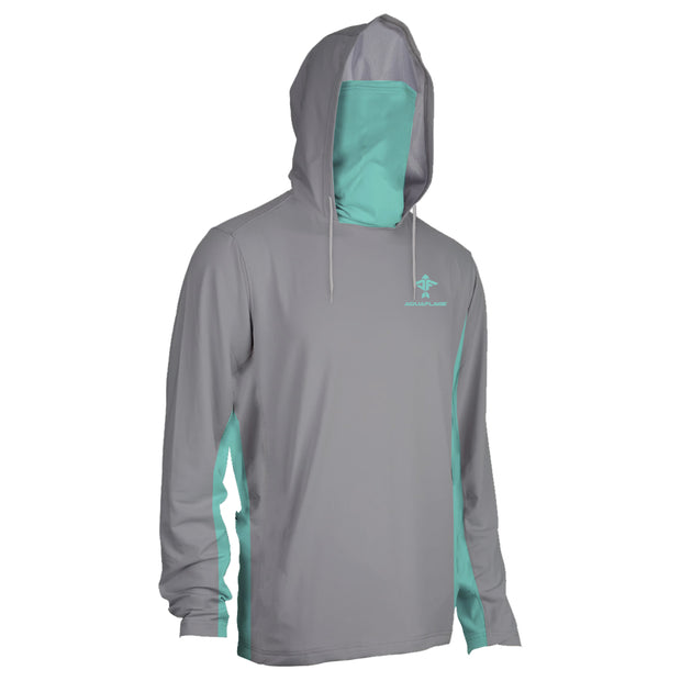 Men's Rubicon Shield Seagrass/Grey Performance Hoodie With Mask