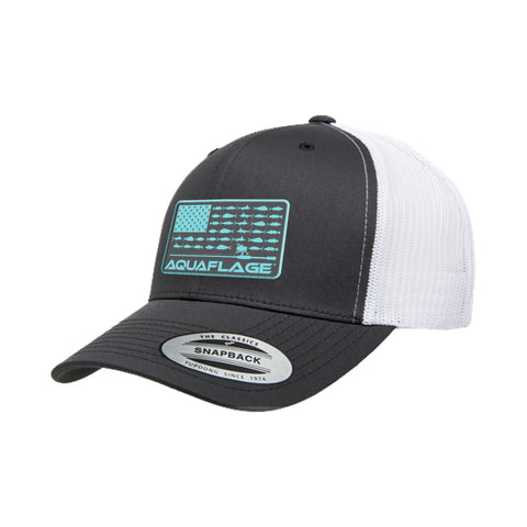 Teal Fish Flag Grey/White Trucker Hat