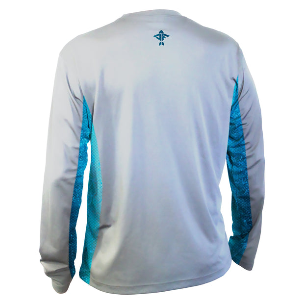Pearl Grey Men's Long Sleeve Performance Shirt with Blue Dorado Mesh