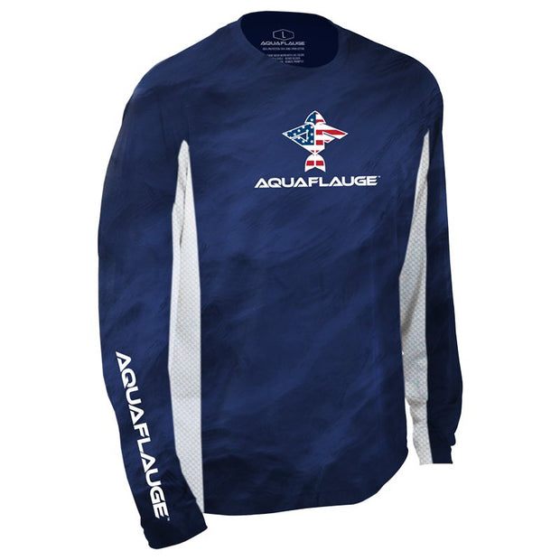 USA Flying Fish Men's Long Sleeve Performance Mesh Shirt - aquaflauge