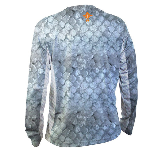 Grey Snapper Men's Long Sleeve Performance Mesh Shirt - aquaflauge