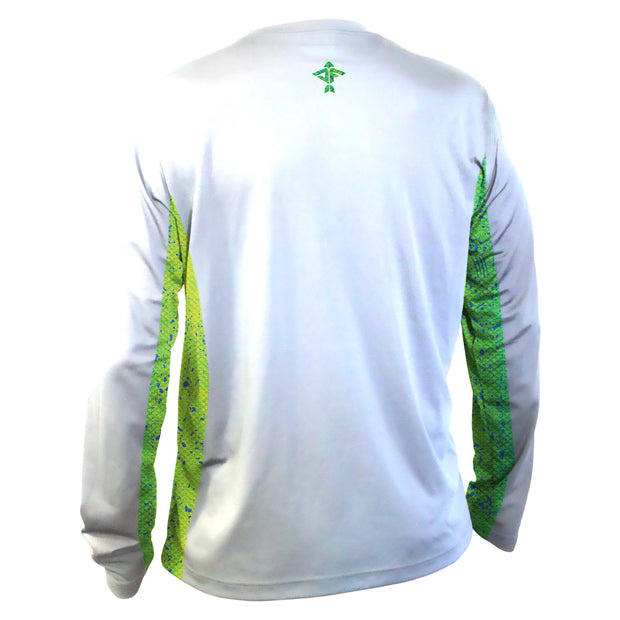White Men's Long Sleeve Performance Shirt with Green Dorado Mesh