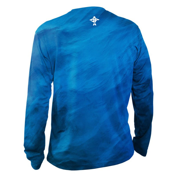 Storm Series Blue Men's Long Sleeve Performance Shirt - aquaflauge