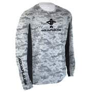 Grey Digicam Men's Long Sleeve Performance Mesh Shirt - aquaflauge
