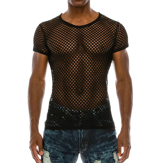 Tee Shirt Mesh Transparent Noir