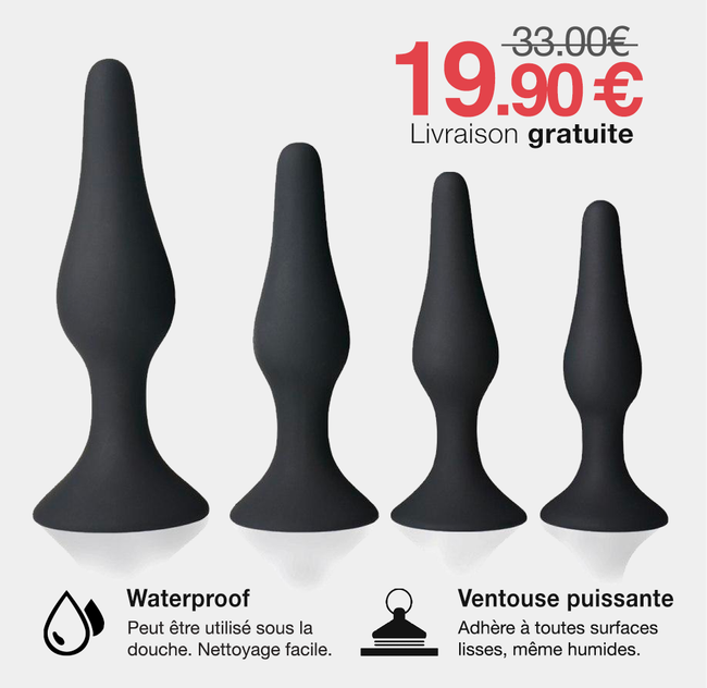 Anal Training Kit : 4 plugs formateurs sur ventouse