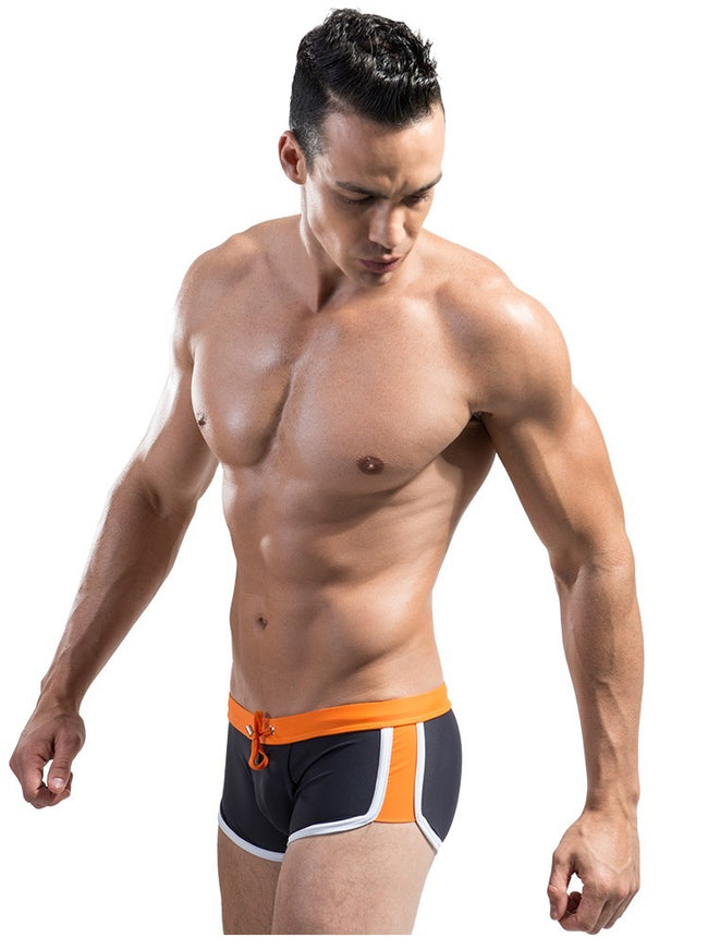 Boxer de Bain Noir et Orange