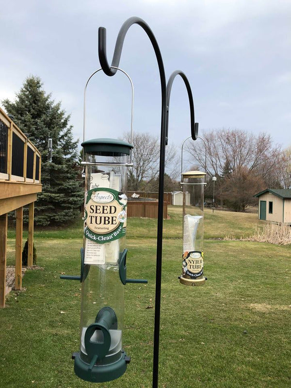 "BUNDLE SAVING $10.00 plus Free Delivery on a Two Feeder Set - Nyjer & Seed Feed with 91"" Double Shepherds Hook"