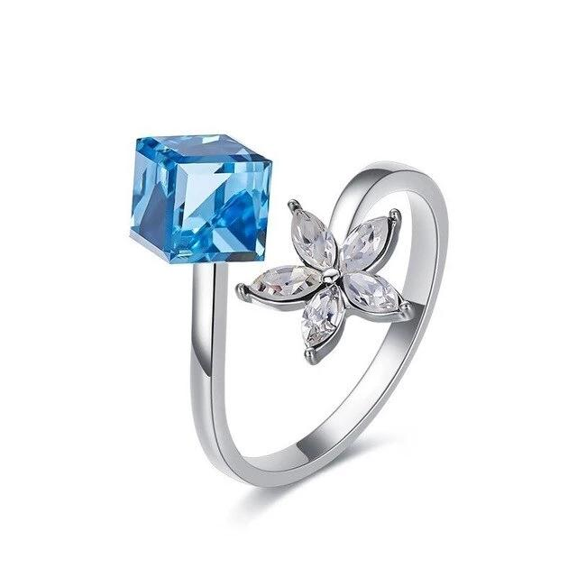 Jto New Fashion Open Ring Blue Square Crystals From Swarovski